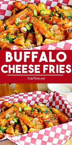 Buffalo Cheese Fries have all the flavor of buffalo chicken wings with the crispy texture of french fries topped with sharp cheddar and blue cheese. Serve with a fork and ranch dressing. Best Appetizers, Appetizer Recipes, Dinner Recipes, Yummy Recipes, Dinner Ideas, Buffalo Fries, Cheese Fries, Food Challenge, Recipes