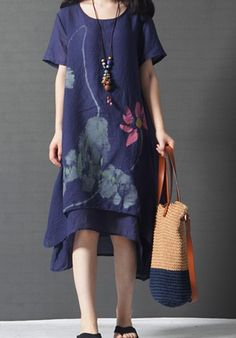 Women loose fit plus size flax linen dress flower pattern ethic pocket casual #Unbranded #dress #Casual