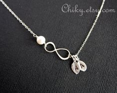 INFINITY necklace TWO Initials leaf  and Freshwater  by chiky, $30.50