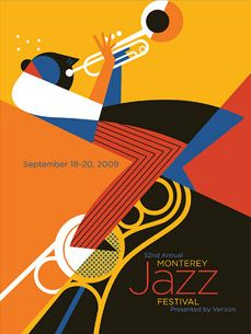 Monterey Jazz Poster - so well done: visually cool and drives the brand. #coolness #visuallystunning #tuneful
