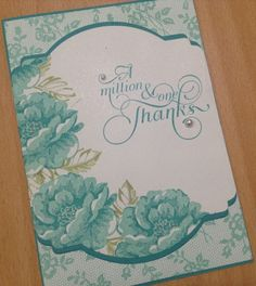 deco label framelit and stippledblossoms for this card but changed colors to Coastal Cabana and Bermuda Bay with just a touch of Pear Pizzazz. I love lace background  If you look closely, you'll see this card has lots of our Pearl Jewels dotted over it.