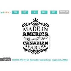 SVG DXF PNG Ai and EPS files for your craft cutter! Tested for Silhouette Studio and Cricut Design Craft Cutter, Canada Day, Made In America, Cricut Design, How To Make