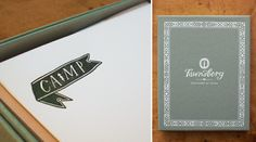 Using banners on words I think is a great way to dress-up flat cards. A lot of the monogramming we do usually involves an image along with the letters. For example, an anchor with initials on both sides for our Nautical collection.