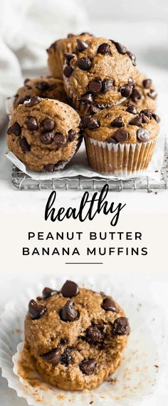 These gluten free healthy peanut butter banana muffins are seriously delicious and super easy to make! One bowl, minimal ingredients, and pretty cheap to make! Healthy Muffin Recipes, Healthy Muffins, Healthy Dessert Recipes, Healthy Baking, Healthy Desserts, Banana Gluten Free Muffins, Recipes With Bananas Healthy, Eggless Banana Muffins, Blueberry Banana Muffins Healthy