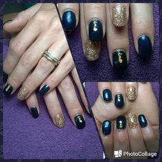Semipermanente blu e oro con decoro marino