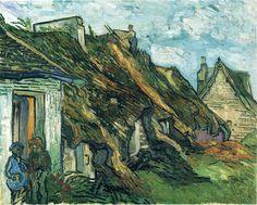 Thatched Sandstone Cottages in Chaponval - Vincent van Gogh 1890