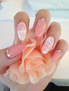 21 gorgeous peach floral nail art