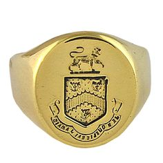 "Cartier Gold Mens Crest Ring ""I will never Forget"""