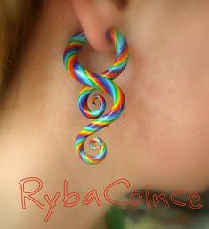 Fake ear gauge / Faux gauge/Gauge earrings / fake piercing The children of the summer on Etsy, $22.96