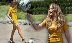 Jennifer Lopez tests her football skills in tight yellow dress and sky high heels | Mail Online