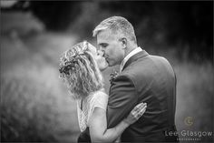 Black and white image of the bride and groom on their wedding day.