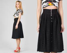 Vintage 1980s Black High Waist Skirt / Striped Button Up Circle Midi Skirt / High Waisted Sripes XS Extra Small Skirt