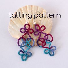 Tatting pattern 'Vineyard earrings' by #littleblacklace. Shuttle tatting technique. The pattern contains 2-pages with: list of supplies, a diagram with stitch count and written instructions in English. Two shuttles are required to make the earrings. Enjoy your tatting!