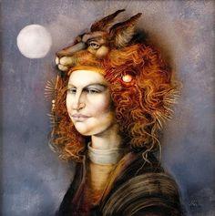 ENDRE SZÁSZ, Hungary Klimt, Surrealism, Muse, Painters, Artist, Mixed Media, Animals, Illustrations, Friends