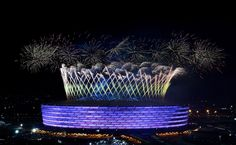 Fireworks erupt over the <span>Olympic Stadium </span>during the Opening Ceremony of the Baku 2015 European Games.