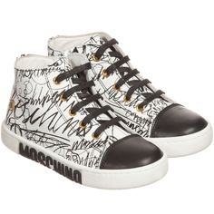 Moschino Kid-Teen - Black & White Leather Graffiti High-Top Trainers | Childrensalon