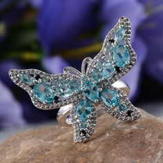 Butterfly Ring with Madagascar Paraiba Apatite, White Topaz, and Thai Black Spinel in Platinum Overlay Sterling Silver (Nickel Free)
