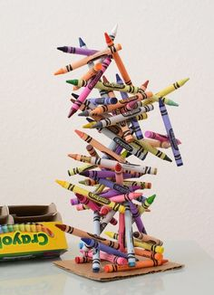 Crayon Art Sculpture - Meri Cherry-if I was going to leave this out I would perhaps provide tape as a room full of glue guns is asking for trouble: