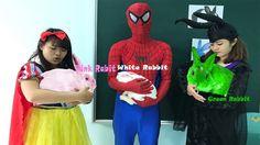Learn Animal with Spiderman Frozen Elsa Snow White vs Joker! Colors Rabb...