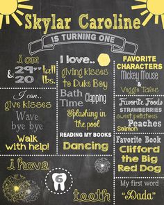 First Birthday Chalkboard Printable Poster by RusticRosebudDesigns You are my sunshine theme