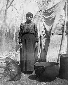 An old photograph of a Chippewa Indian at a Sugar Camp, White Earth Indian Reservation.