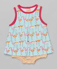 Look at this #zulilyfind! Aqua Flamingo Cap-Sleeve Romper - Infant by Zutano #zulilyfinds