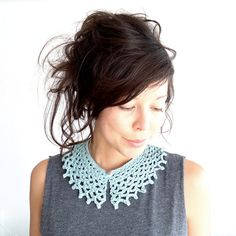 Crochet Cobweb Collar Duck Egg Blue. £20.00, via Etsy.