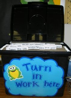 turn in work bin - I have an Accordian File for this :) Can't wait to use it!