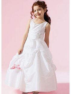 Sleeveless Ruched Bottom Taffeta Organza Flower Girl Dress