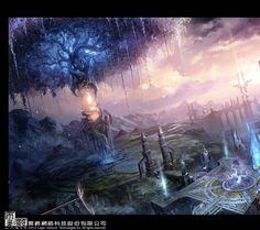 960x854 paintings landscapes dawn fantasy art drawings 2500x1391