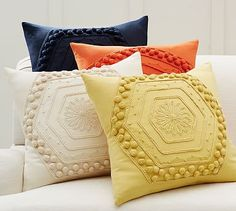 Pom Pom Embroidered Pillow Cover #potterybarn