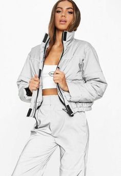 Fanny Lyckman X Missguided Gray Reflective Piped Puffer Jacket. Order today & shop it like it's hot at Missguided. Raincoat Outfit, Mens Raincoat, Raincoats For Women, Jackets For Women, Missguided Outfit, Missguided Clothing, Sporty Outfits, Swag Outfits, Jackets Online