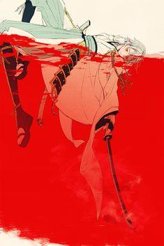 Samurai punk trying to fish with superior folded Japanese steel in a lake of blood Anime Love, Anime Guys, Manga Anime, Anime Art, Manga Illustration, Illustrations, Character Illustration, Character Art, Character Design