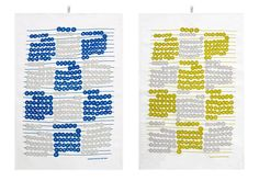 Antti Kalevi, Helmitaulu (2014) textile design  Silkscreen printed calendar teatowels and a poster for Kauniste Finland.