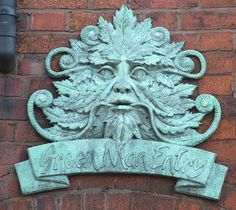A modern Green Man over the entrance to Green Man Passage in Dudley, West Midlands, England (photo Mervyn W.)