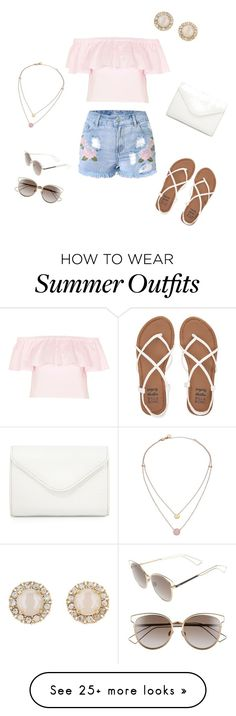 """casual summer outfit"" by sarahgraceee on Polyvore featuring Topshop, Billabong, Neiman Marcus, Christian Dior, Michael Kors and Kate Spade"