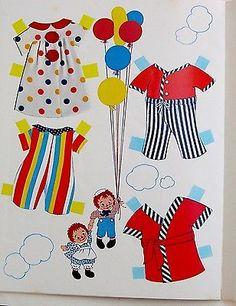 Vintage Whitman/Bobbs-Merrill RAGGEDY ANN & ANDY CIRCUS paper dolls 1974 uncut