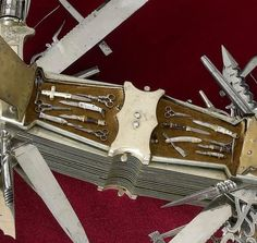 In 1880, 10 years before the start of production of the true Swiss Army Knife, John S. Holler has created this multifunction knife in Germany. The handle also opens to reveal miniature knives and scissors with a knife crucifix.