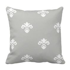Modern and Trendy Light Grey Damask Pattern Throw