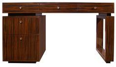 Macassar Ebony Desk with Bronze Pulls