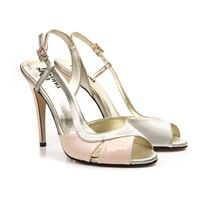 May cream nude and gold vegan high heel stiletto slingback sandal shoe in synthetic faux leather