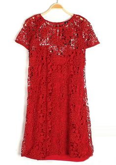 Red Hollow-out Round Neck Short Sleeve Lace Dress