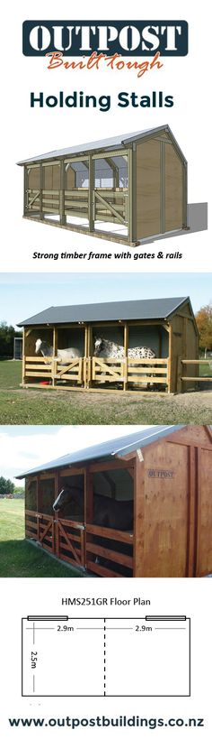 Relocatable Holding Stalls from Outpost are great for grooming and feeding your horses.