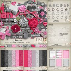 Smitten Bundle by Tami Miller Designs Now on sale at 40% off . Includes 19 Papers, 51 Elements, 5 Alphas, 6 Journaling Cards, 8 Wordart Brushes, 6 Embossed Papers, 6 Damask Glitter Papers. Also available in separate packs When you purchase Smitten Bundle  get I HEART YOU kit for  FREE through Feb.