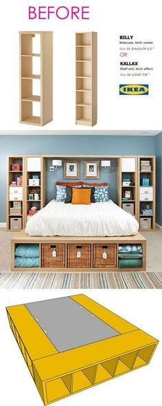 Smart and Gorgeous IKEA Hacks: save time and money with functional designs and beautiful transformations. Great ideas for every room such as IKEA hack bed, desk, dressers, kitchen islands, and more! - A Piece of Rainbow decor ikea Ikea Hacks, Diy Hacks, Ikea Bed Hack, Ikea Hack Bedroom, Ikea Bedroom Storage, Ikea Boys Bedroom, Ikea Bookshelf Hack, Ikea Shelves, Ikea Platform Bed Hack