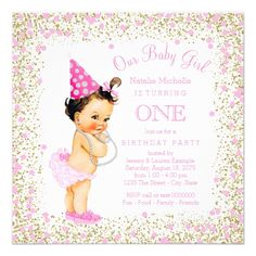 Girl's 1st Birthday Party Invitations Girls 1st Birthday Party Pink Gold Glitter Card