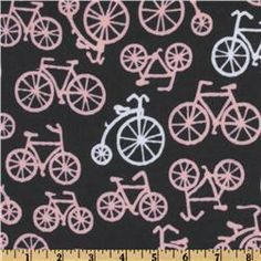 michael miller pink gray bicycles
