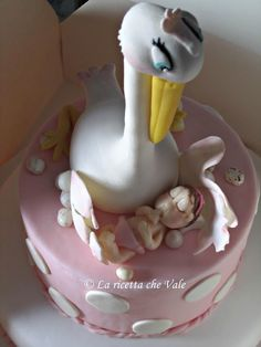 Torta cicogna per battesimo bimba
