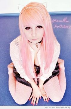 Neko-chan - Heart Our Style - cat cosplay cute hair hemulka xutebow kawaii neko pink scene