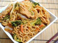 Chicken Yakisoba - Budget Bytes Will pull part out before mixing the chicken back in for the veggie kid.